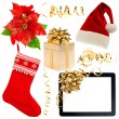 Stock Photo: Christmas decorations collection isolated on white