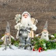 Santa Claus and happy kids. Christmas decoration — Stock Photo