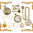 Collectible accessories. antique keys, clock, compass, corner — Stock Photo