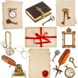 Antique clock, key, photo album, feather pen, inkwell, compass — Stock Photo #37005855