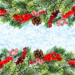 Stock Photo: Christmas tree branch with red berrries