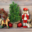 Christmas decoration with antique toys teddy bear — Stock Photo