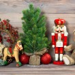 Stock Photo: Christmas decoration with antique toys teddy bear