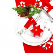 Festive christmas table place setting decoration — Stock Photo #37008723