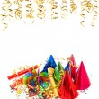 Garlands, streamer, confetti. carnival birthday party — Stock Photo