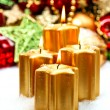 Festive advent decoration with four burning candles — Stock Photo