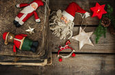 Christmas still life with antique handmade toys — Stock Photo