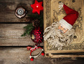 Vintage christmas decoration with antique baubles and toys — Stock Photo