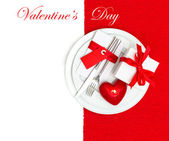 Valentines Day table place setting in red and white — Stock Photo