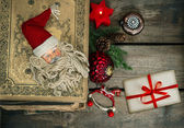 Vintage christmas decoration with greetings card — Stock Photo