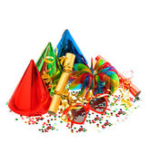 Decorations, garlands, streamer, cracker, party glasses and conf — Foto Stock