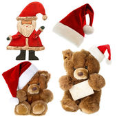 Teddy bear with santa hat. christmas decorations — Stock Photo