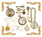 Collectible accessories. antique keys, clock, compass, corner — 图库照片