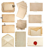Set of various old paper sheets, cards, envelopes — Stock Photo