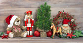 Christmas decoration with antique toys teddy bear — Foto de Stock