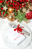 Festive table place setting decoration — Stock Photo