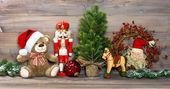 Christmas decoration with toys teddy bear and nutcracker — Foto de Stock