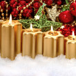 Advent composition with four burning golden candles — Stock Photo