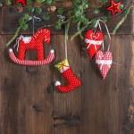 Christmas decoration textile handmade toys — Stock Photo #37024035