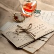 Old letters, postcards and vintage things — Stock Photo