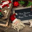 Vintage christmas decoration with antique baubles and toys — 图库照片