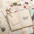 Open empty diary book, old letters, french postcards — ストック写真