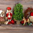 Christmas decoration with toys teddy bear and nutcracker — Stock Photo