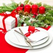 Christmas table place setting decoration in red — Stock Photo #40661493