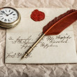 Nostalgic background with old letter and vintage ink pen — Stock Photo