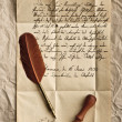 Old letter with feather quill and wax seal — Stock Photo