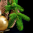 Christmas tree branch with golden burning candle — Stock fotografie