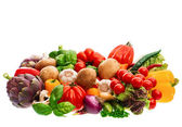 Group of fresh vegetables and herbs — Stock Photo