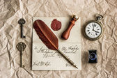 Background with old letter and vintage ink pen — Stock Photo