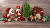 Christmas decoration with toys teddy bear and nutcracker — Foto de Stock
