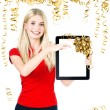 Woman with tablet PC and gift ribbon bow decoration — Stockfoto