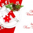 Festive christmas table place setting decoration — Stock Photo #40782043