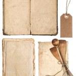 Vintage wooden kitchen utensils, old cookbook, pages — Stock Photo #40795839