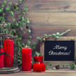 Vintage christmas decoration birdcage and red candles — Stock Photo #40798039