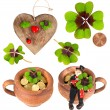 Symbols of luck. red heart, coin, clover, chimney sweep — Stock Photo #40798061