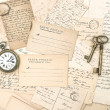 Stock Photo: Old letters and postcards, antique accessories. ephemera