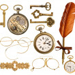 Set of golden antique objects. old keys, clock, ink feather pen — Zdjęcie stockowe