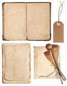 Vintage wooden kitchen utensils, old cookbook, pages — Stock Photo