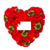Yonca yaprağı ve beyaz kart ile gül kırmızı kalp — Stok fotoğraf