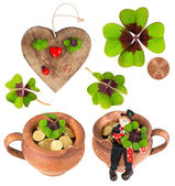 Symbols of luck. red heart, coin, clover, chimney sweep — Stock Photo