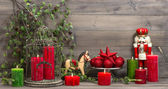 Christmas decorations with red candles and vintage toys — Foto de Stock