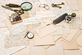 Old letters, postcards, photo of a family. collectible goods. ep — Stock Photo