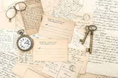 Old letters and postcards, antique accessories. ephemera — Stock Photo