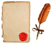 Antique paper sheet with seal and vintage ink pen — Stok fotoğraf