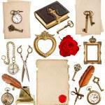 Antique clock, key, photo album, feather pen, inkwell, compass — Stock Photo