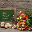 Vintage easter decoration with eggs and tulip flowers — Stock Photo #40801325